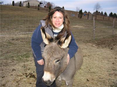 Photo of Irene and Jackson, the miniature donkey