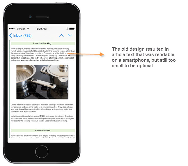 Old email newsletter article shown on smartphone