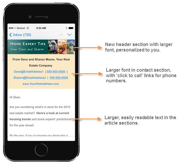 new email newsletter design on smartphone