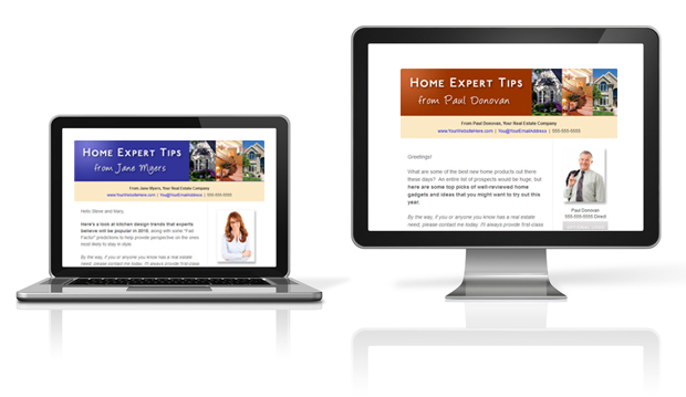 Real estate e-newsletters shown on pc and laptop display